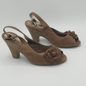 Sofft Brown Leather Peep Toe Ankle Straps Heels